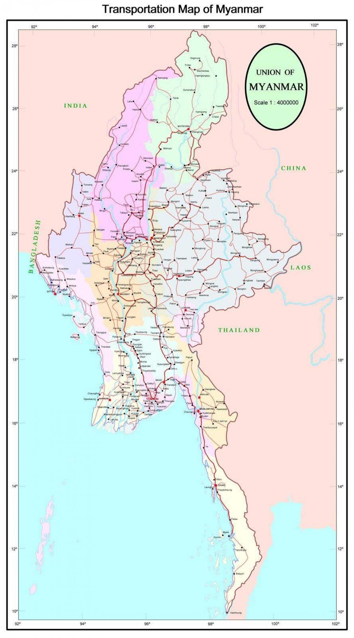 Mianmar Autopalya Terkep Mianmar Autopalya Ut Terkep Del